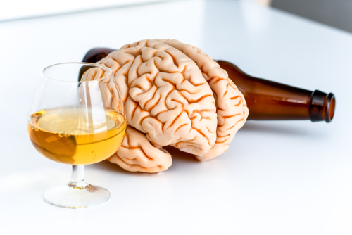 Brain next to alcoholic beverages