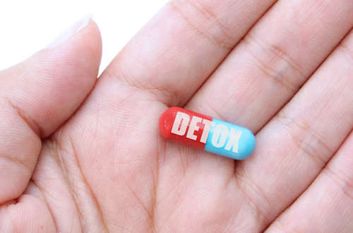 Pill Labelled Detox in a palm