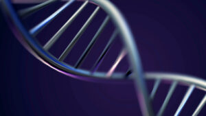 A double helix against a blue background