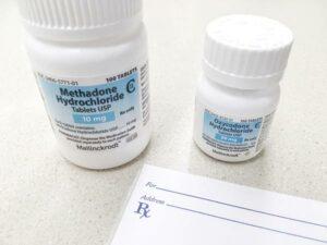 A methadone prescription and bottle